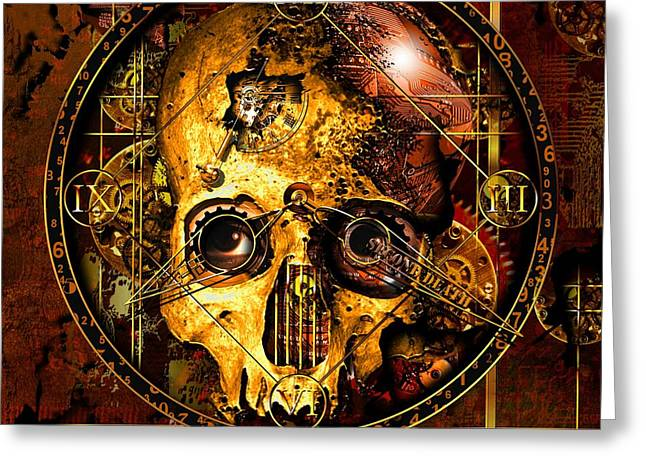Clock Mixed Media Greeting Cards - Cryptic Time Course  Greeting Card by Franziskus Pfleghart