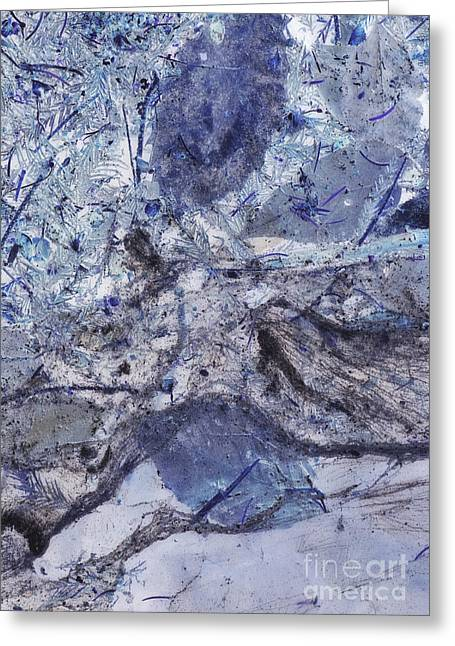 Industrial Background Greeting Cards - Crystal and Blue Persuasions Abstract I Greeting Card by Lee Craig