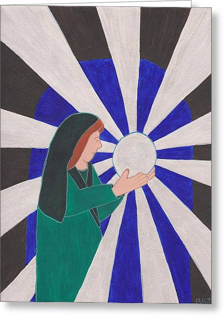 The Seer Greeting Cards - Crystal Ball Reader Greeting Card by Barbara St Jean