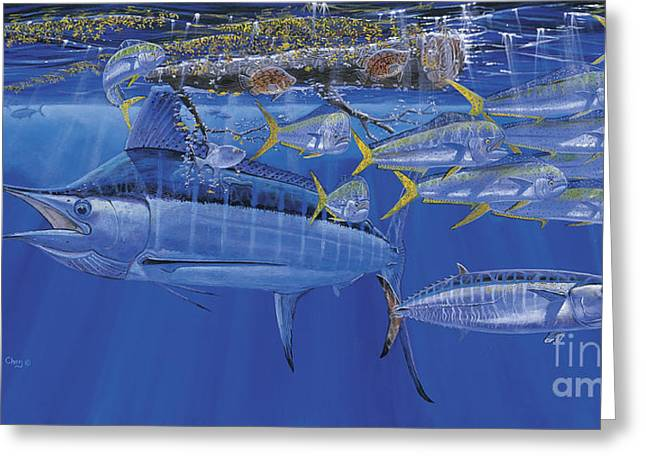 Black Marlin Greeting Cards - Crystal Blue Off00100 Greeting Card by Carey Chen