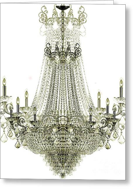 Crystals Greeting Cards - Crystal Chandelier Greeting Card by Jon Neidert