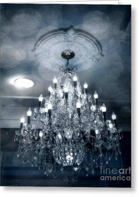 Chandelier Greeting Cards - Crystal Chandelier Photo - Sparkling Twinkling Lights Elegant Romantic blue Chandelier Photograph Greeting Card by Kathy Fornal