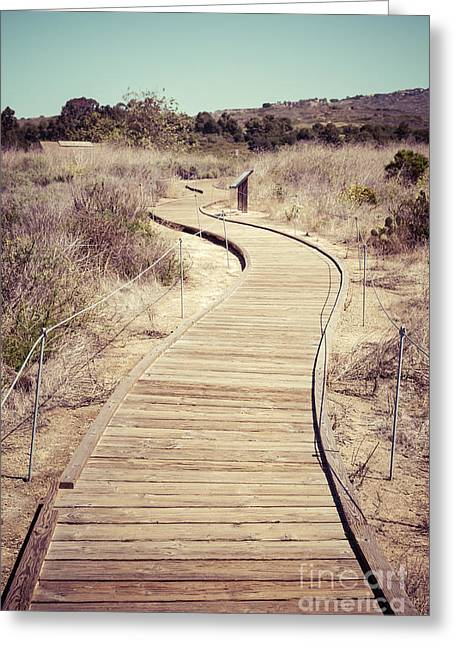 Outside Pictures Greeting Cards - Crystal Cove Wooden Walkway Vintage Photo Greeting Card by Paul Velgos