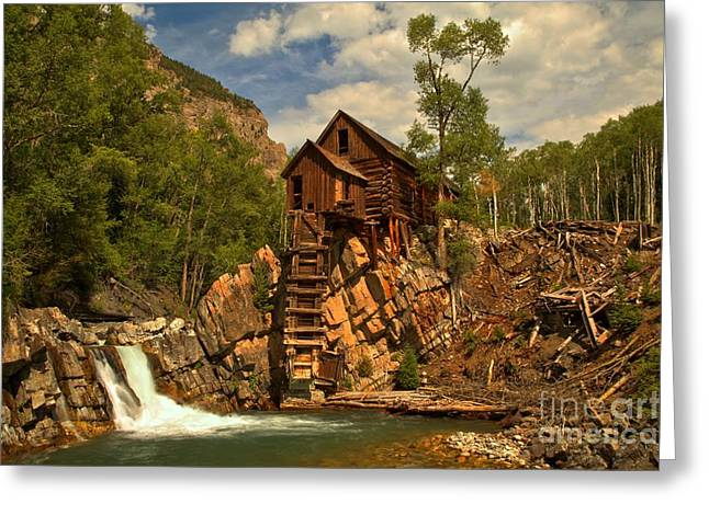 Water Powered Generator Greeting Cards - Crystal Falls Below The Mill Greeting Card by Adam Jewell