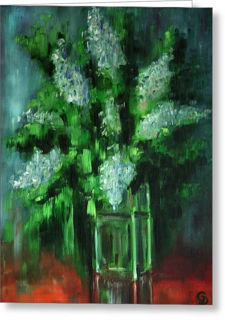 Glass Table Reflection Paintings Greeting Cards - Crystal Flowers Greeting Card by George Dadiani