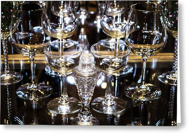 Wine-glass Glass Art Greeting Cards - Crystal Glass Greeting Card by Carlos Negron