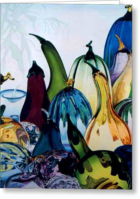 Bottled Glass Greeting Cards - Crystal Harvest Greeting Card by Eve Riser Roberts