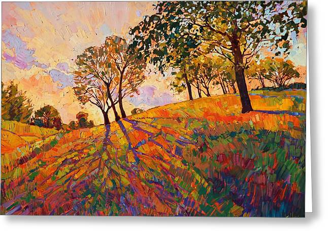 Dawn Paintings Greeting Cards - Crystal Hills Greeting Card by Erin Hanson