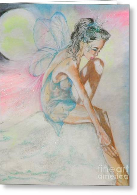 Fairies Pastels Greeting Cards - Crystal Ice Fairy Greeting Card by Sandra Valentini