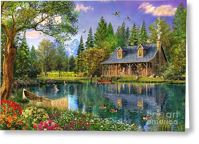 Countryside Digital Greeting Cards - Crystal Lake Cabin Greeting Card by Dominic Davison
