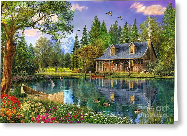 Flower Blooms Greeting Cards - Crystal Lake Cabin Greeting Card by Dominic Davison