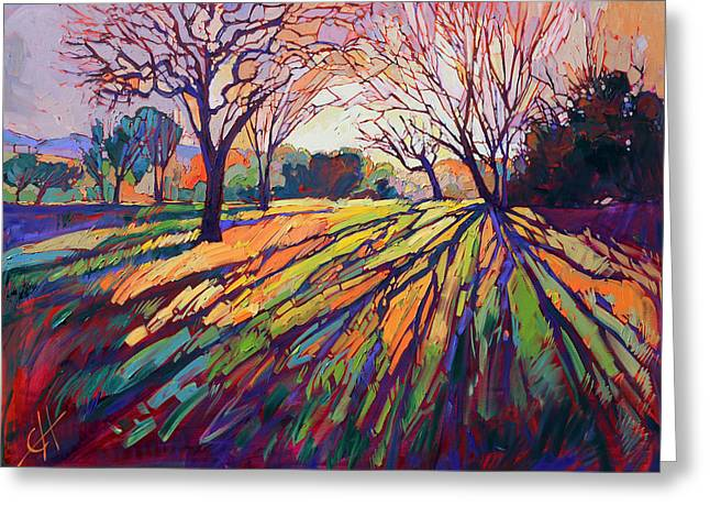 Oak Tree Paintings Greeting Cards - Crystal Light Greeting Card by Erin Hanson