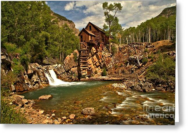 Water Powered Generator Greeting Cards - Crystal Mill Landscape Greeting Card by Adam Jewell