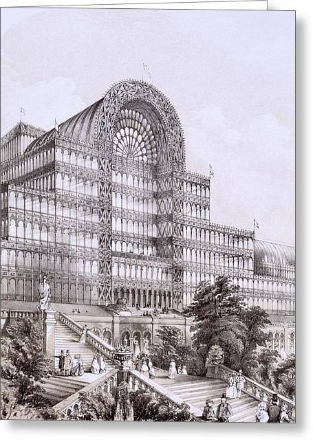 Structure Drawings Greeting Cards - Crystal Palace At Sydenham, The Front Greeting Card by Thomas Hosmer Shepherd