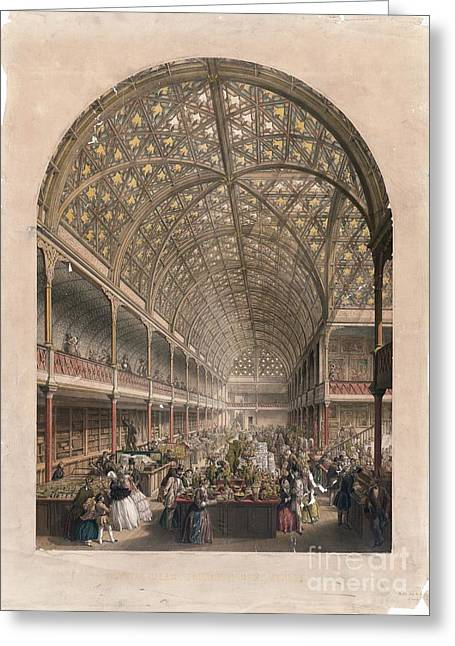 Coloured Glass Greeting Cards - Crystal Palace Bazaar, London, 1850s Greeting Card by Library Of Congress