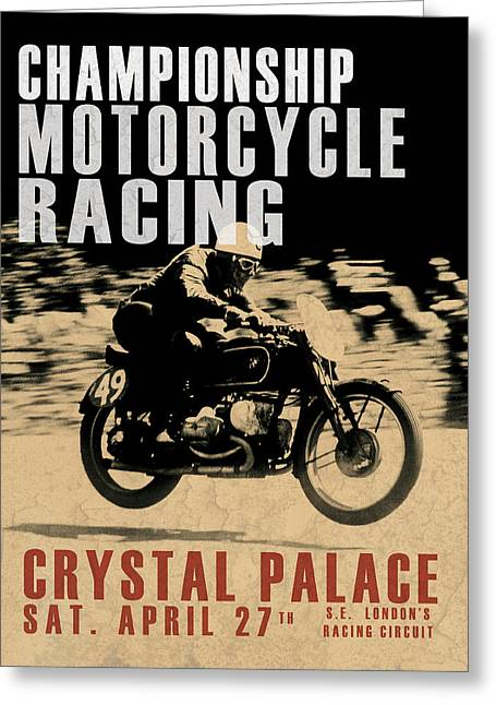 Motorcycle Poster Greeting Cards - Crystal Palace Motorcycle Racing Greeting Card by Mark Rogan