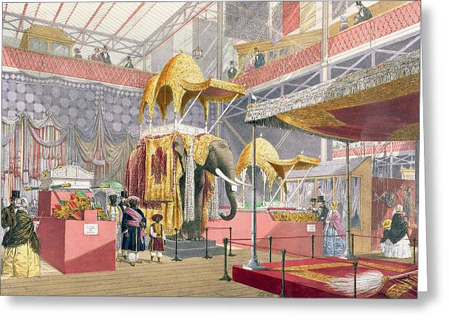 Visitors Drawings Greeting Cards - Crystal Palace, The Indian Court, Pub Greeting Card by Joseph Nash