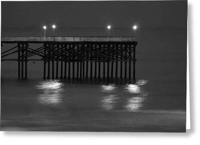 Beach At Night Greeting Cards - Crystal Pier in San Diegos Pacific Beach Greeting Card by Richard Cheski