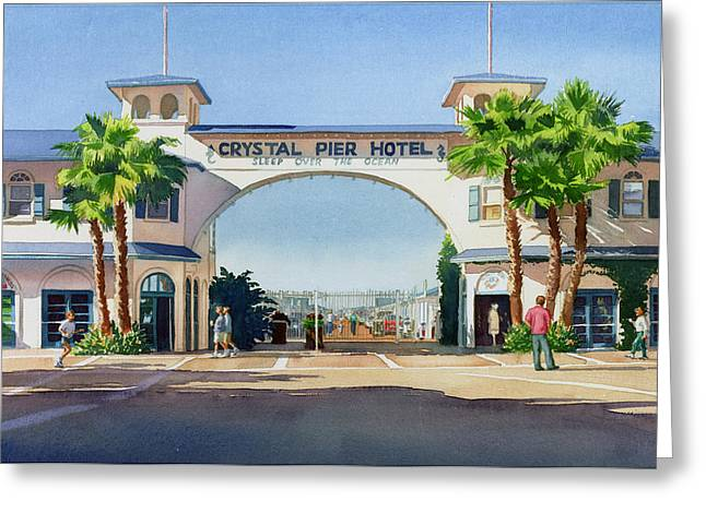 Pacific Beaches Greeting Cards - Crystal Pier Pacific Beach Greeting Card by Mary Helmreich