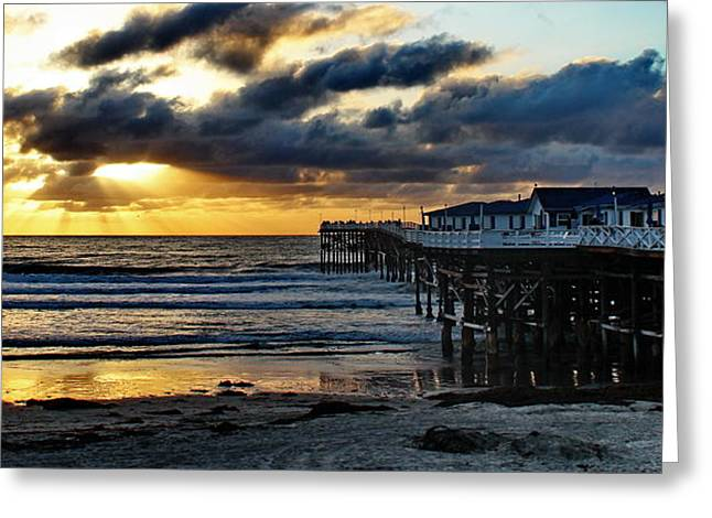Sandy Beaches Greeting Cards - Crystal Pier Sunset PB Greeting Card by Russ Harris