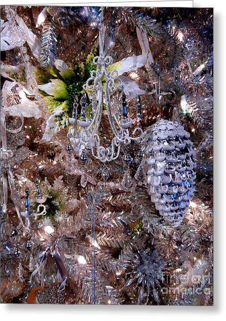 Pine Cones Greeting Cards - Crystal Silver Tinsel Tree Greeting Card by Janine Riley