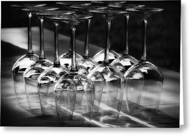 Sparkling Wine Greeting Cards - Crystal Wine Glasses Greeting Card by Mountain Dreams