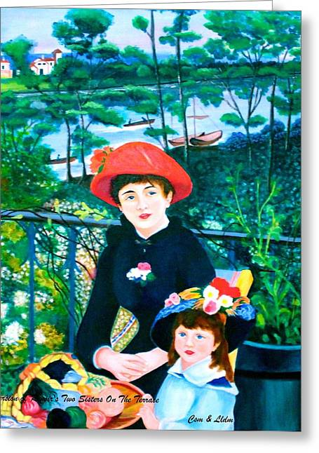 Canoe Greeting Cards - Csm and Lldm Version of Renoirs Two Sisters on the Terrace Greeting Card by Lorna Maza