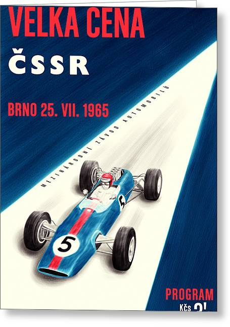 Rally Greeting Cards - CSSR Grand Prix 1965 Greeting Card by Nomad Art And  Design