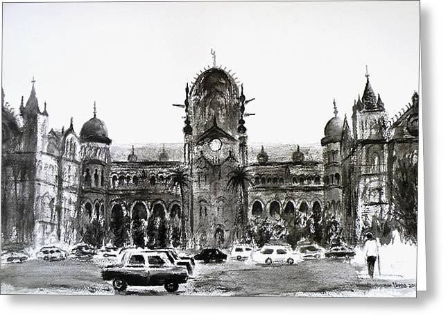 Cst Station Mumbai Greeting Card by Uma Krishnamoorthy