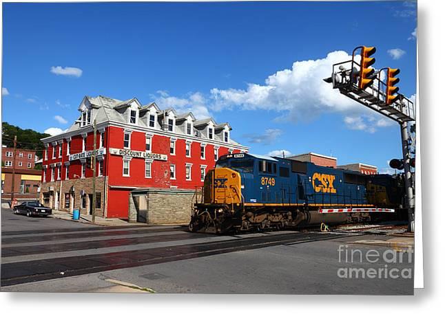 Csx Diesel Train At Cumberland Greeting Card by James Brunker