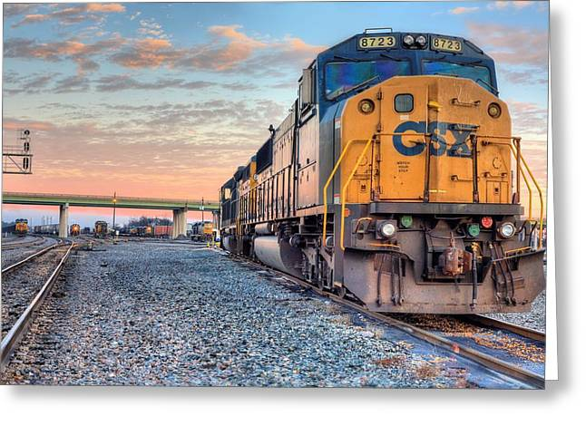 Railyard Greeting Cards - CSX in Montgomery Alabama Greeting Card by JC Findley