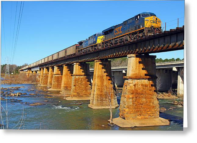 Train On Bridge Greeting Cards - CSX Over Riverfront Park Greeting Card by Joseph C Hinson Photography
