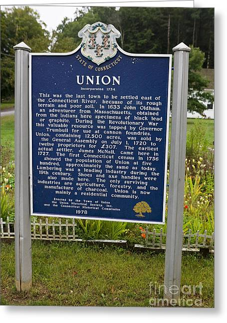 Union Connecticut Greeting Cards - CT-002 Union Greeting Card by Jason O Watson