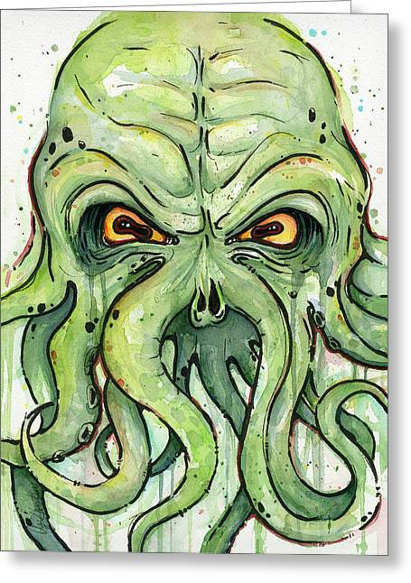 Scary Greeting Cards - Cthulhu Watercolor Greeting Card by Olga Shvartsur