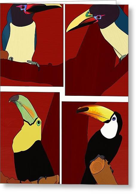 Loop De Loop Greeting Cards - Cuatro de la Tucanes Four Toucans Greeting Card by Sun Browser