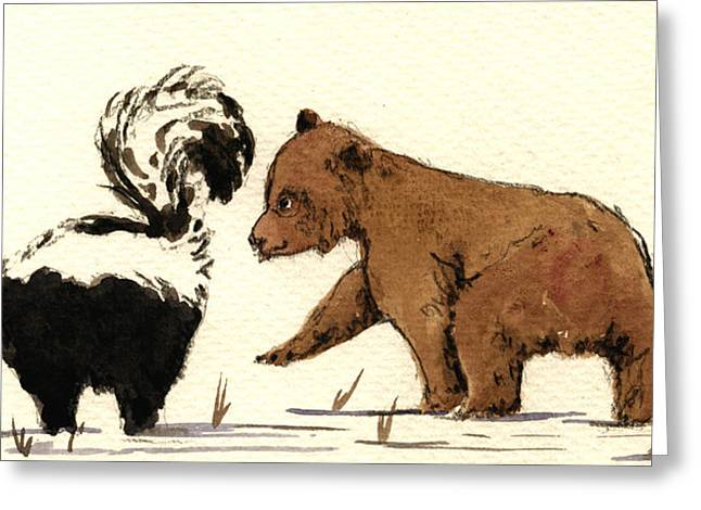 Cute Bear Greeting Cards - Cub bear playing with skunk Greeting Card by Juan  Bosco