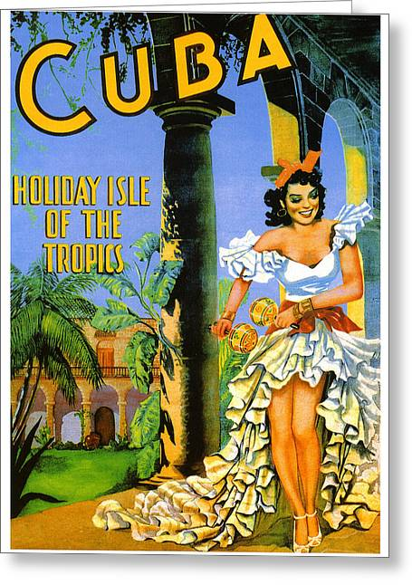 Post-war Greeting Cards - Cuba - Holiday Isle of the Tropics Greeting Card by Nomad Art And  Design