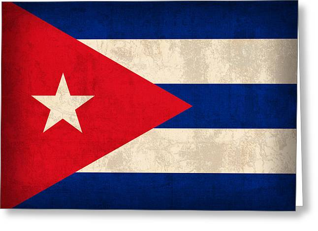 Cuba Greeting Cards - Cuba Flag Vintage Distressed Finish Greeting Card by Design Turnpike