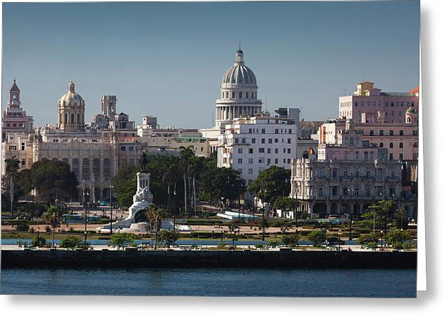Cuba, Havana, Elevated City View Greeting Card by Walter Bibikow