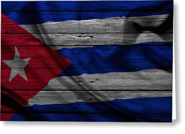 Flag Pole Greeting Cards - Cuba Greeting Card by Joe Hamilton