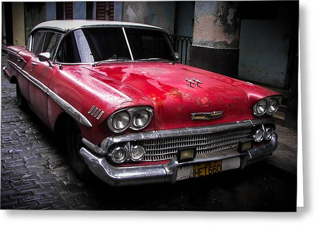 In The Corner Greeting Cards - Cuban Vintage Red Greeting Card by Karen Wiles