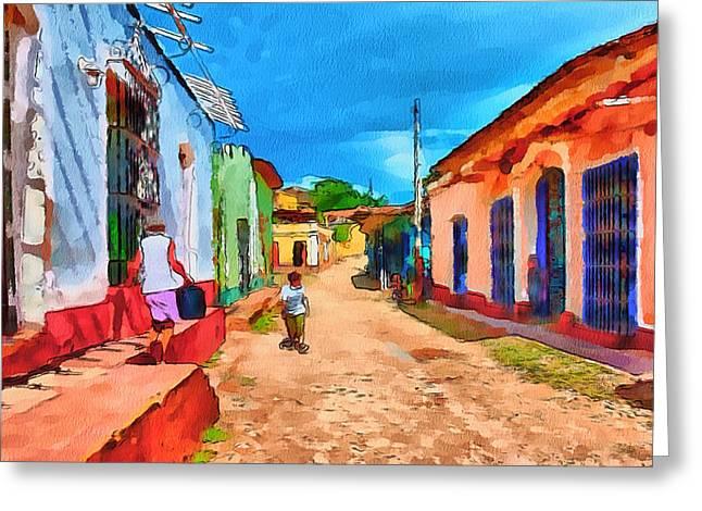 Watercolour Interior Greeting Cards - Cuba Street life 1 Greeting Card by Yury Malkov