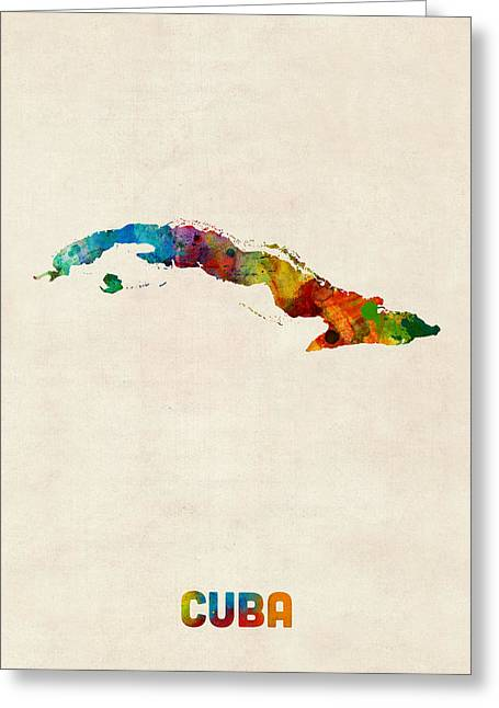 Havana Greeting Cards - Cuba Watercolor Map Greeting Card by Michael Tompsett