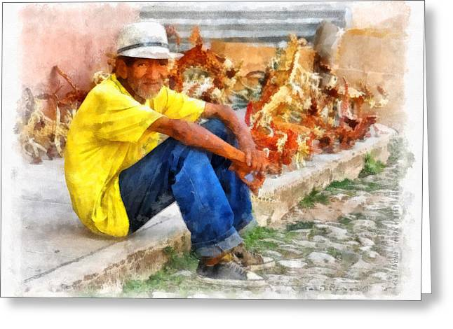 Cuban Artist Greeting Cards - Cuban Artist Greeting Card by Dawn Currie