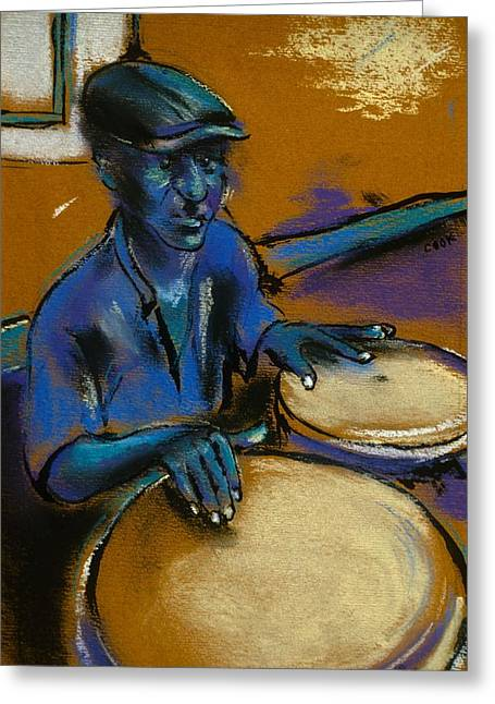 Recently Sold -  - Old Street Greeting Cards - Cuban Bongo Player Greeting Card by Danyl Cook