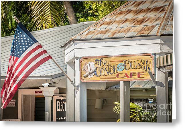 Color Glory Greeting Cards - Cuban Cafe and American Flag Key West - HDR Style Greeting Card by Ian Monk