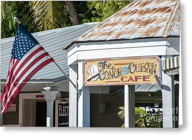 Origin Greeting Cards - Cuban Cafe and American Flag Key West Greeting Card by Ian Monk
