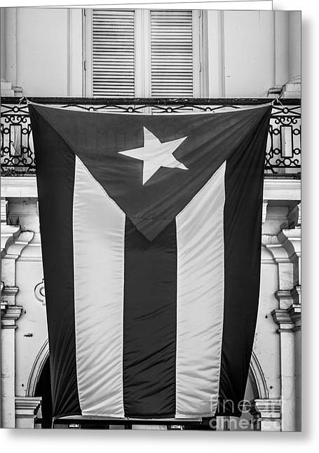 Liberal Greeting Cards - Cuban Flag Key West - Black and White Greeting Card by Ian Monk