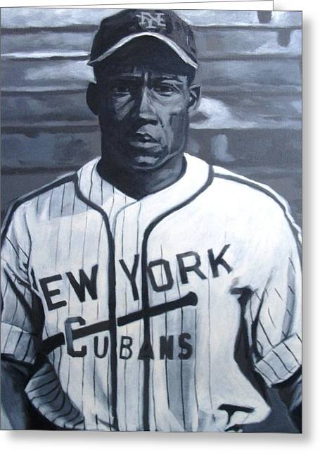 Negro Leagues Paintings Greeting Cards - Cuban Minnie Greeting Card by Paul Smutylo