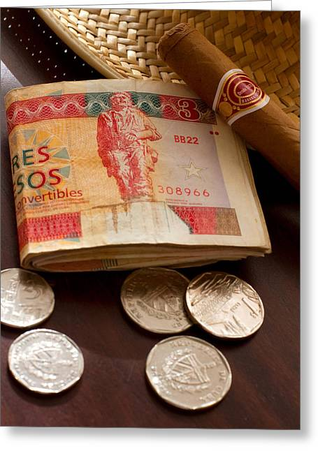 Norman Pogson Greeting Cards - Cuban Money Greeting Card by Norman Pogson